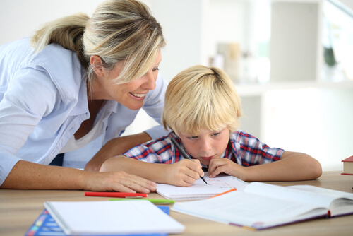 mom helping child study